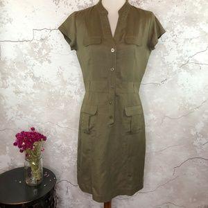 Banana Republic Olive Brown Safari Shirt Dress 6
